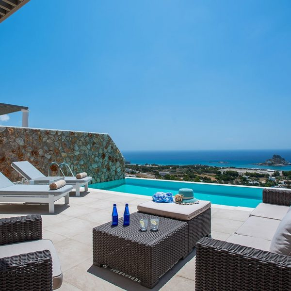 Sitting area near the private pool in Signature Private Pool Suite in White Rock of Kos.